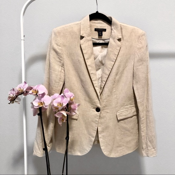British Khaki Jackets & Blazers - LIKE NEW | British Khaki Cotton/Linen Blend Blazer
